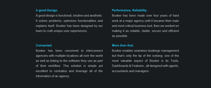 Booker = beautiful design, performance, reliability, well-connected, and more...